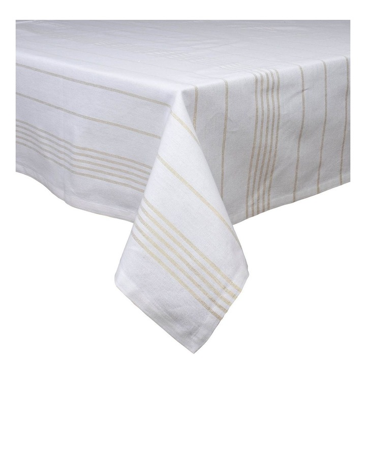 Lurex Champagne Stripe Tablecloth 150x225cm image 1
