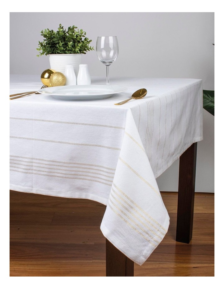 Lurex Champagne Stripe Tablecloth 150x225cm image 2