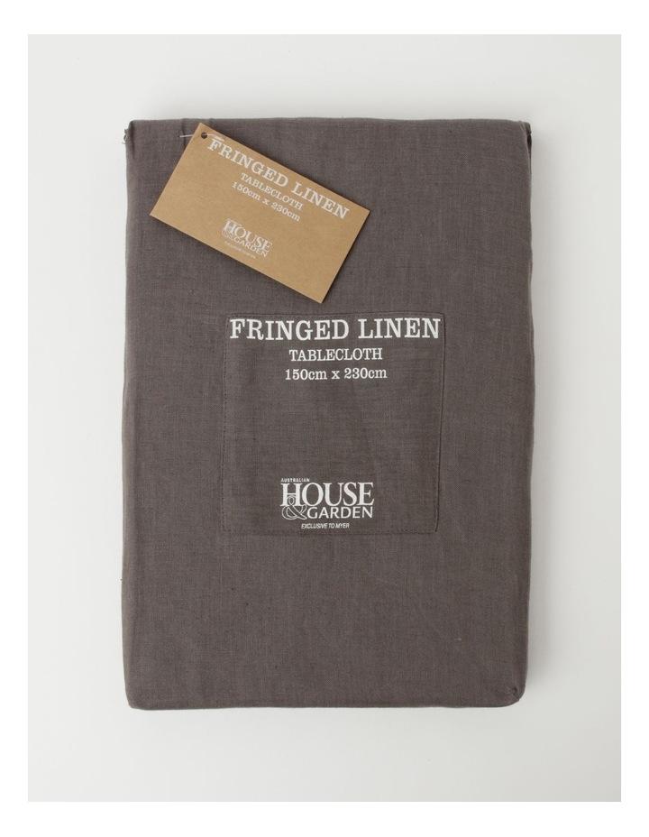 Fringed Linen Tablecloth Dark Stone image 1