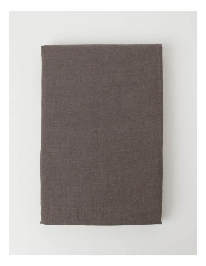 Fringed Linen Tablecloth Dark Stone image 2