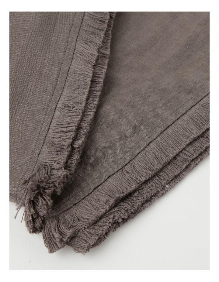 Fringed Linen Tablecloth Dark Stone image 4