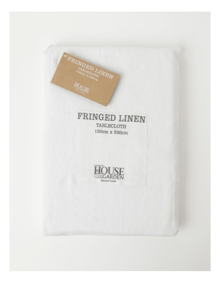 Fringed Linen Tablecloth in White image 1