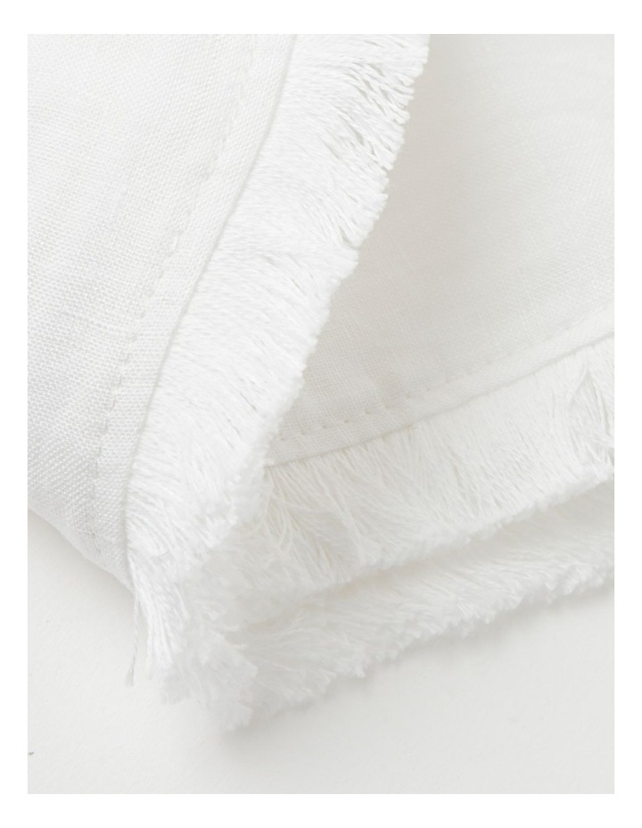 Fringed Linen Tablecloth in White image 5