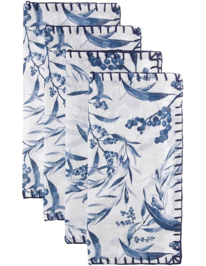 4 Pack Wattle Napkin with Blanket Stitch Edge image 1