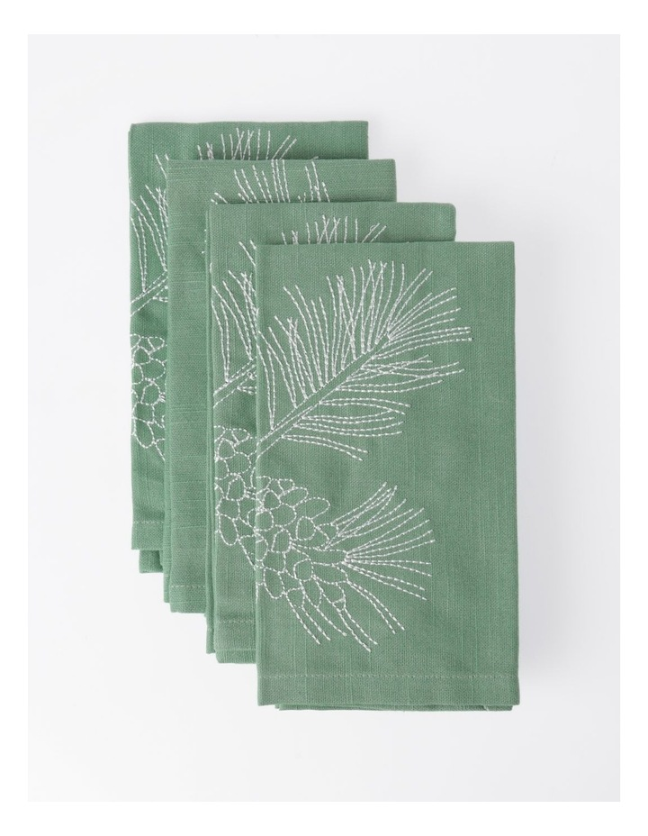 Eucalyptus Embroidery Napkin Set of 4 40x40 image 1