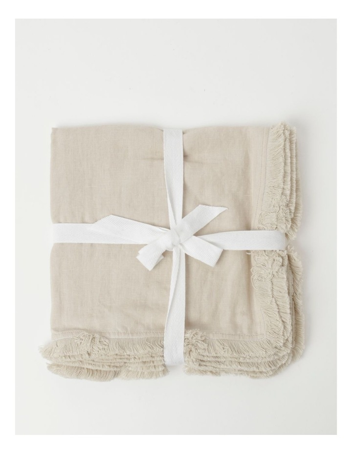 Fringed Linen Napkin Set of 4 Natural image 1