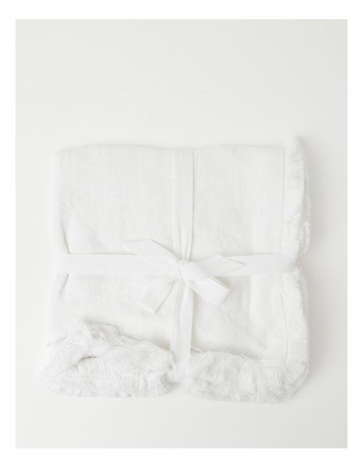Fringed Linen Napkin Set of 4 White image 1