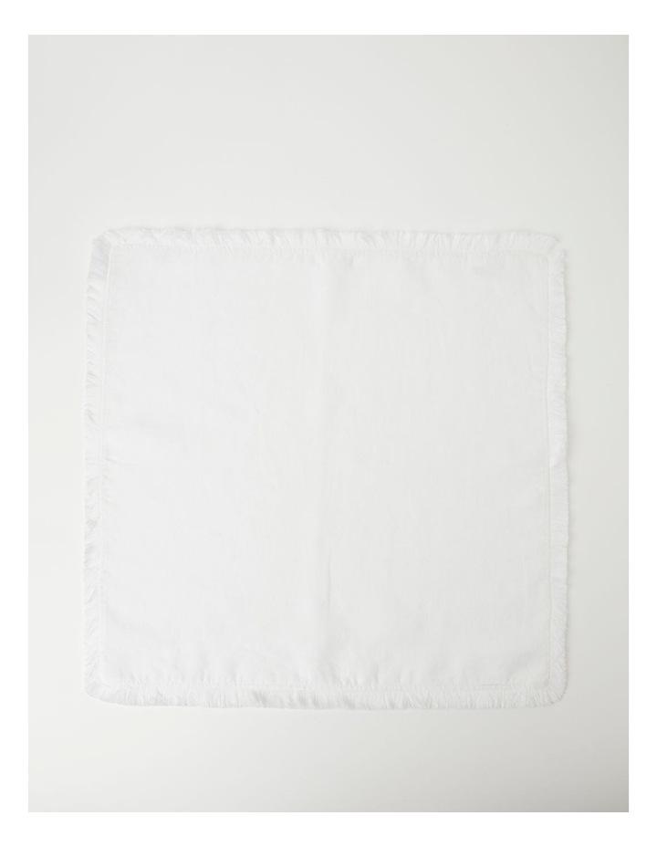 Fringed Linen Napkin Set of 4 White image 2