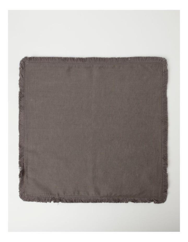 Fringed Linen Napkin Set of 4 Dark Stone image 2