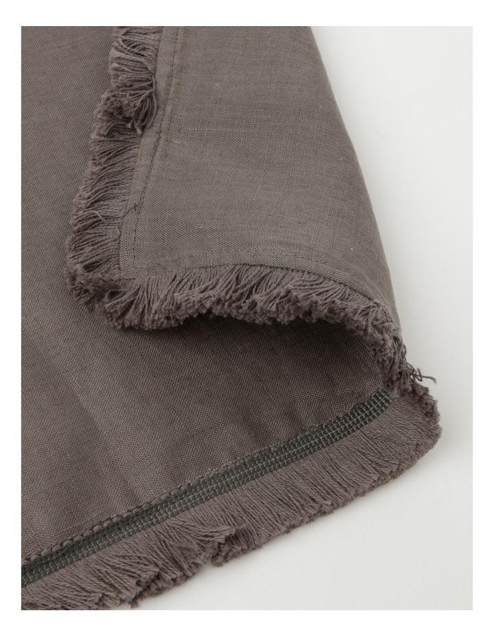 Fringed Linen Napkin Set of 4 Dark Stone image 3