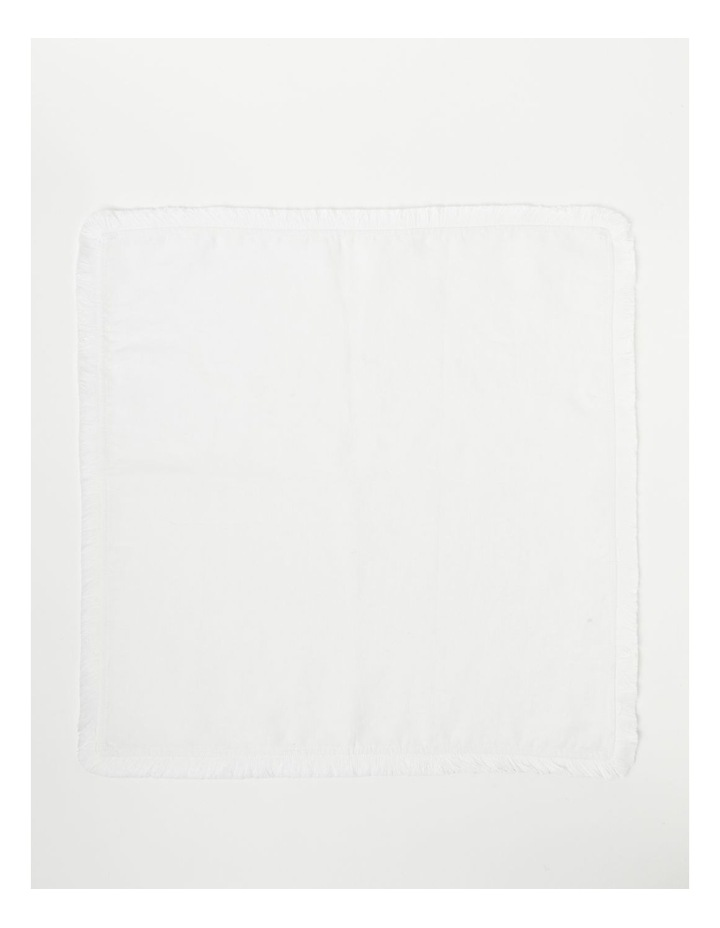 Fringed Linen Placemat in White image 1