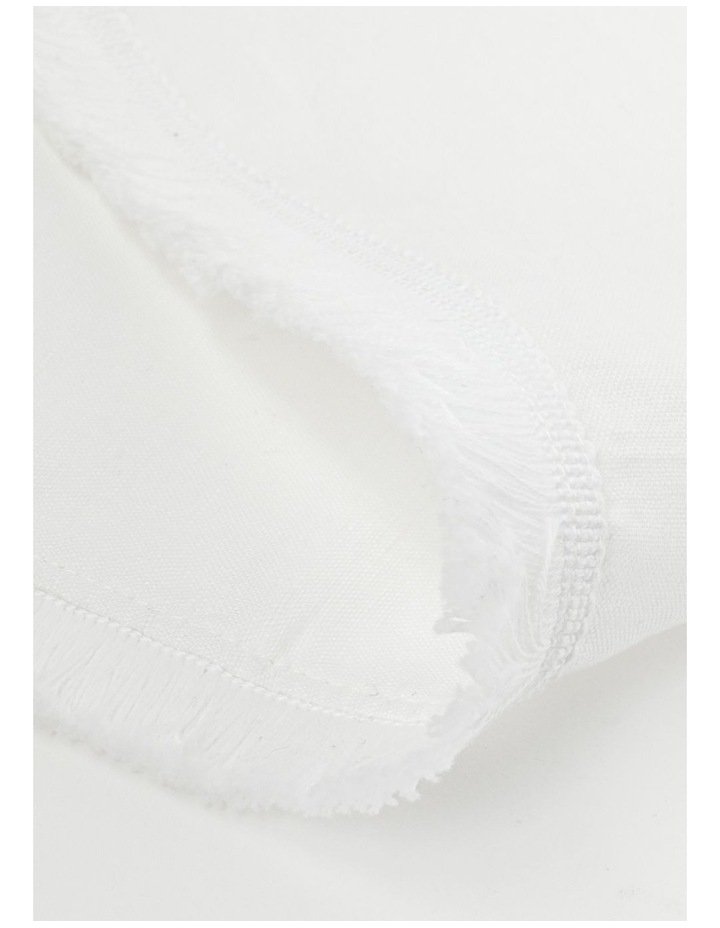 Fringed Linen Placemat in White image 2