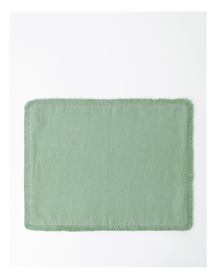 Fringed Linen Placemat in Green image 1