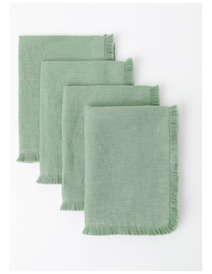 Fringed Linen Placemat in Green image 2