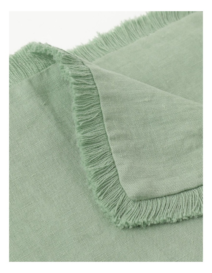 Fringed Linen Placemat in Green image 3