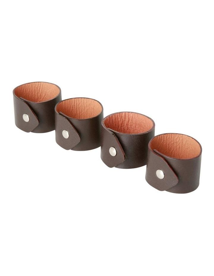 Portsea Nautaul Leather Napkin Rings Set of 4 image 2