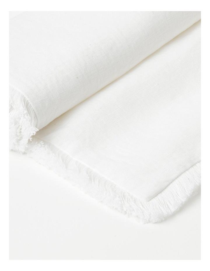 Fringed Linen Table Runner in White image 3
