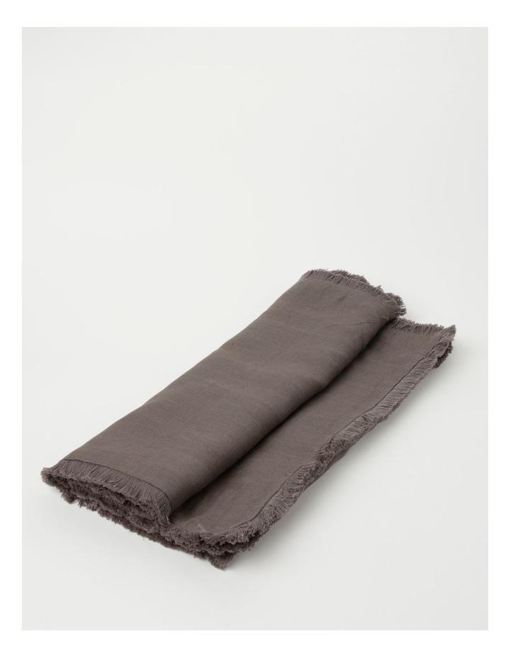 Fringed Linen Table Runner 45x180cm Dark Stone image 1