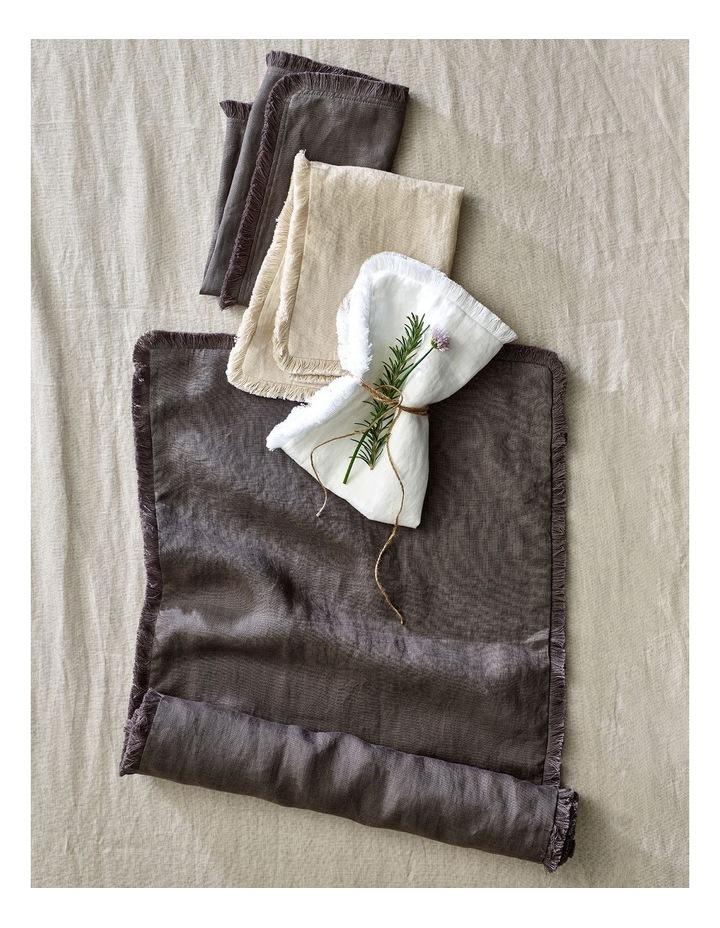 Fringed Linen Table Runner 45x180cm Dark Stone image 2