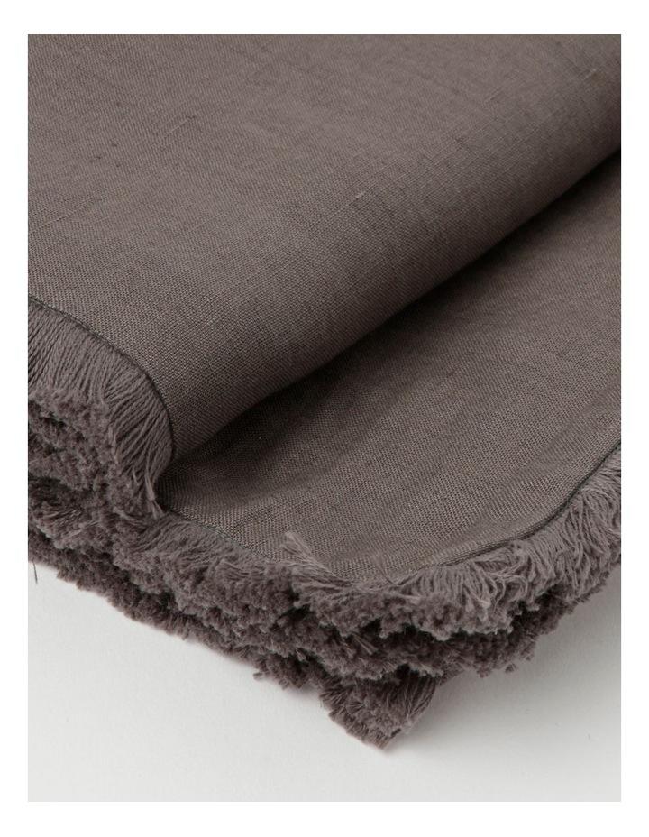 Fringed Linen Table Runner 45x180cm Dark Stone image 3