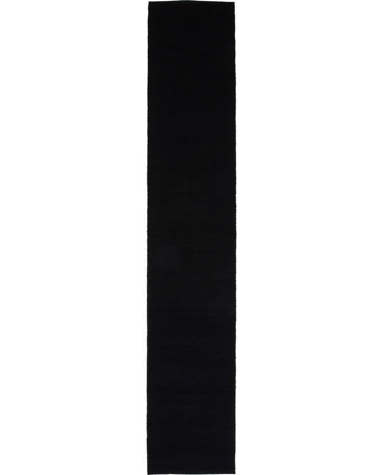 Madisson Ribbed runner 33 x 180cm Black image 1