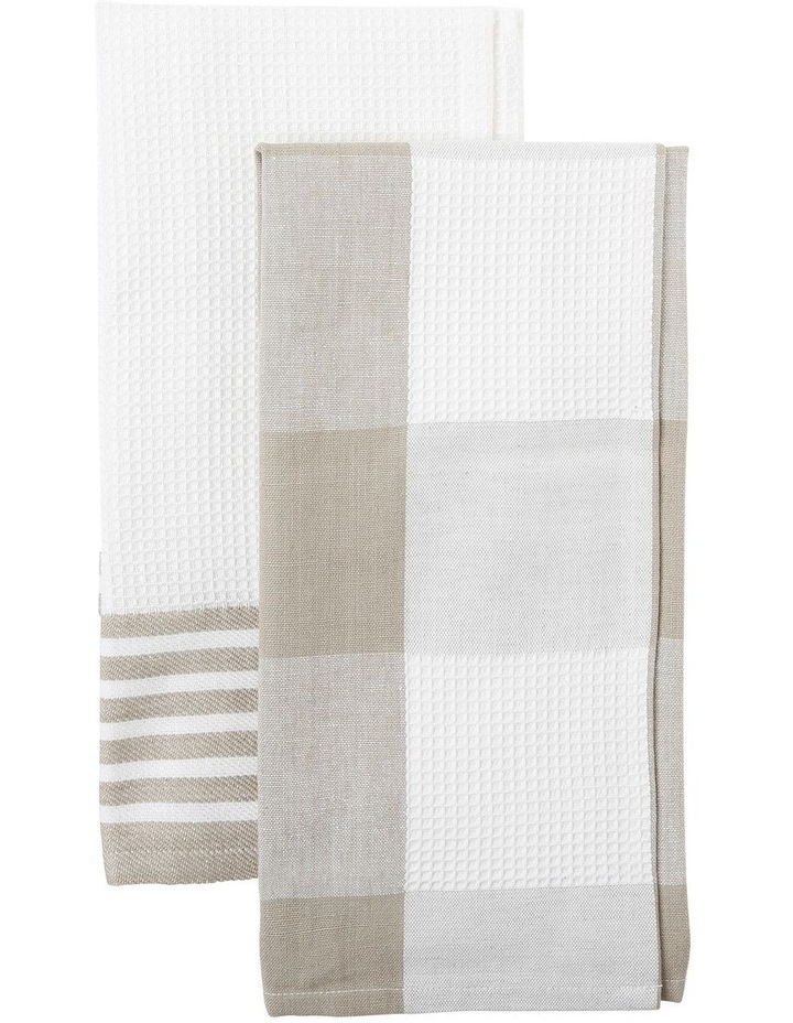 Check And Stripe Tea Towel Set Of 2 Simple Taupe image 1
