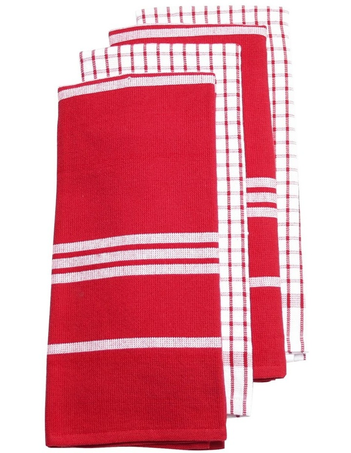 Terry Tea Towels 4Pk Red image 1