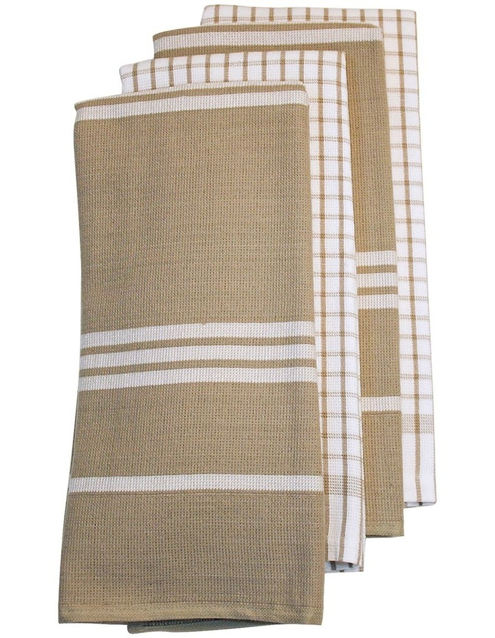 Terry Tea Towels 4Pk Taupe image 1