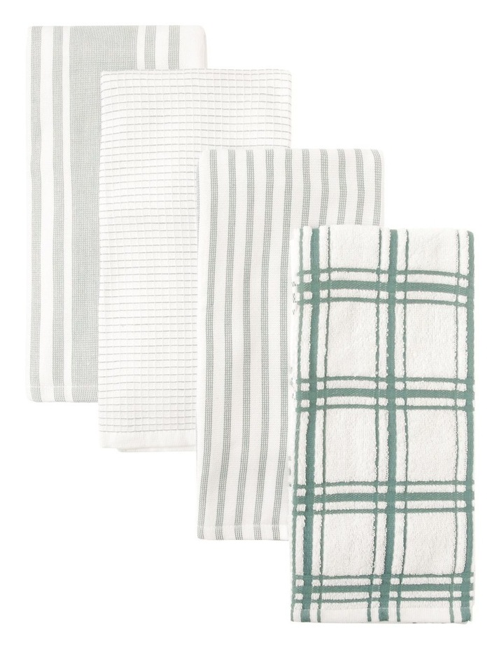Green 4 Pack Cotton Terry Back Tea Towel image 1