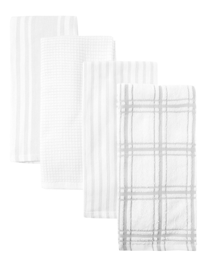 Grey 4 Pack Cotton Terry Back Tea Towel image 1