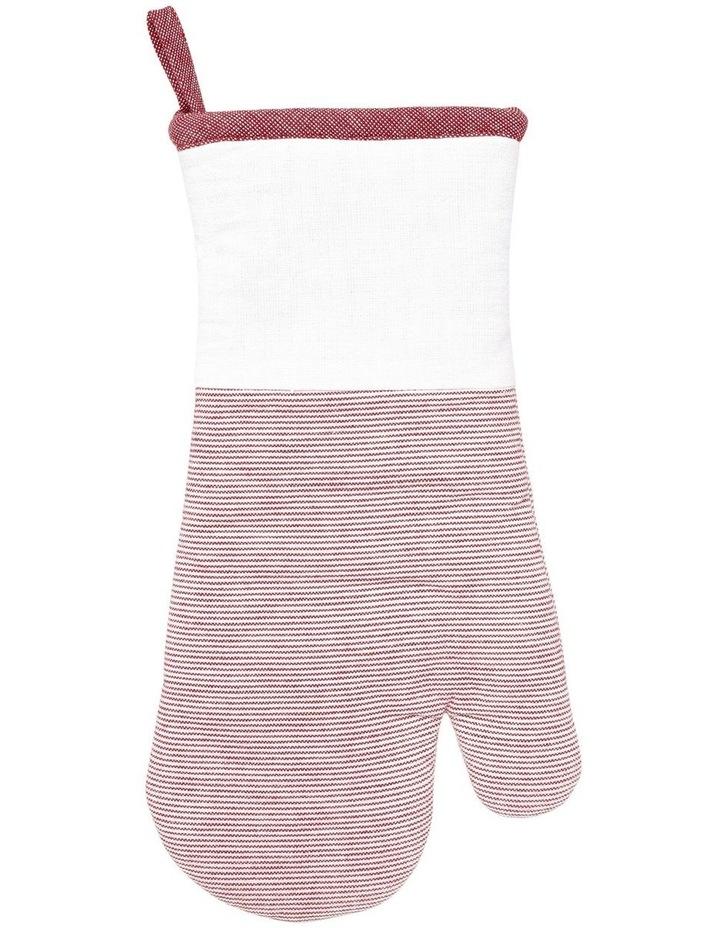 Red Stripe Yarn Dye Oven Mitt Glove image 1