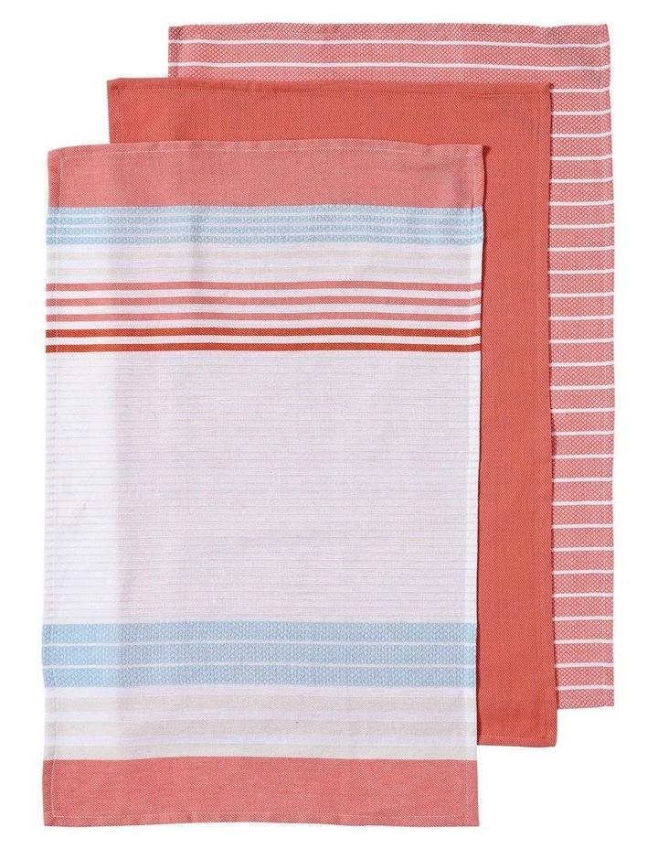 Dwell Woven Stripe 3pk Blush Kitchen Towel image 1
