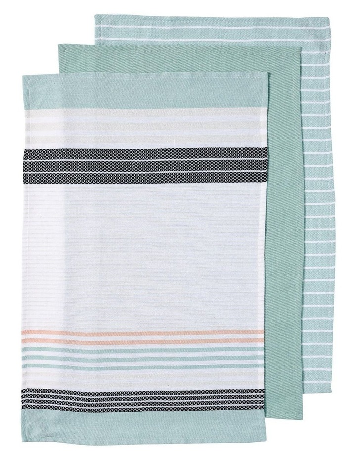 Dwell Woven Stripe 3pk Mint Kitchen Towel image 1
