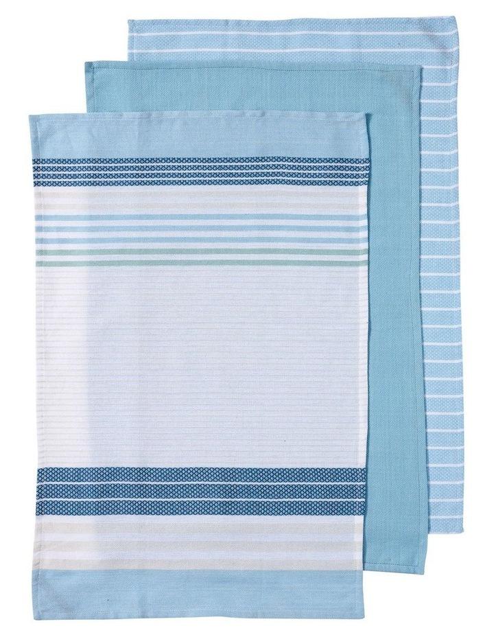 Dwell Woven Stripe 3pk Sky Blue Kitchen Towel image 1
