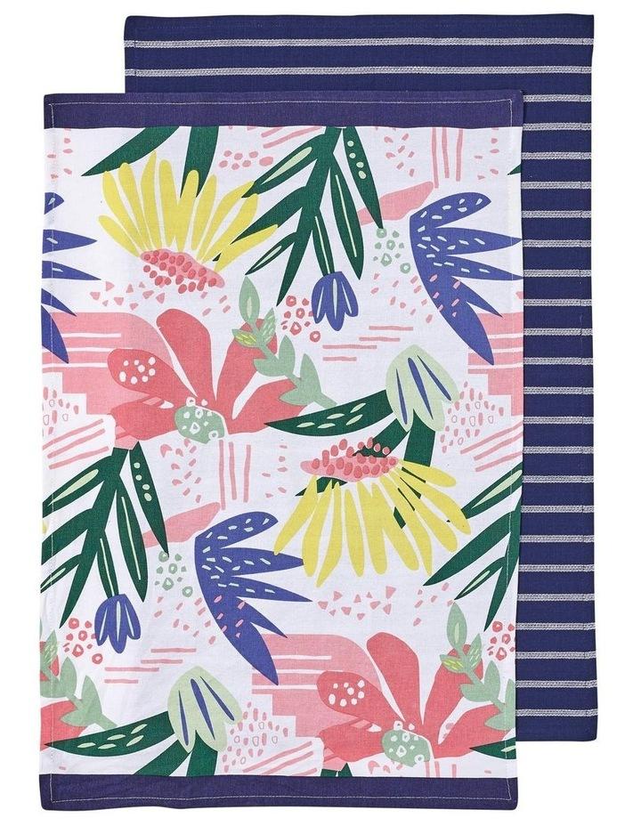 Arise Flora Navy 2pk Kitchen Towel image 1
