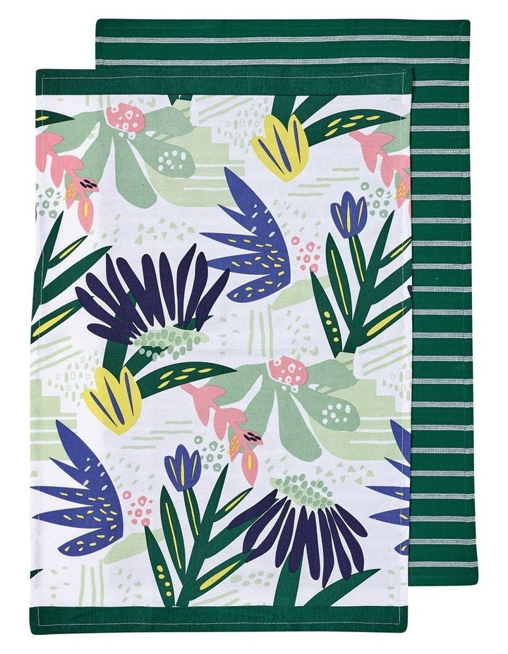 Arise Flora Green 2pk Kitchen Towel image 1