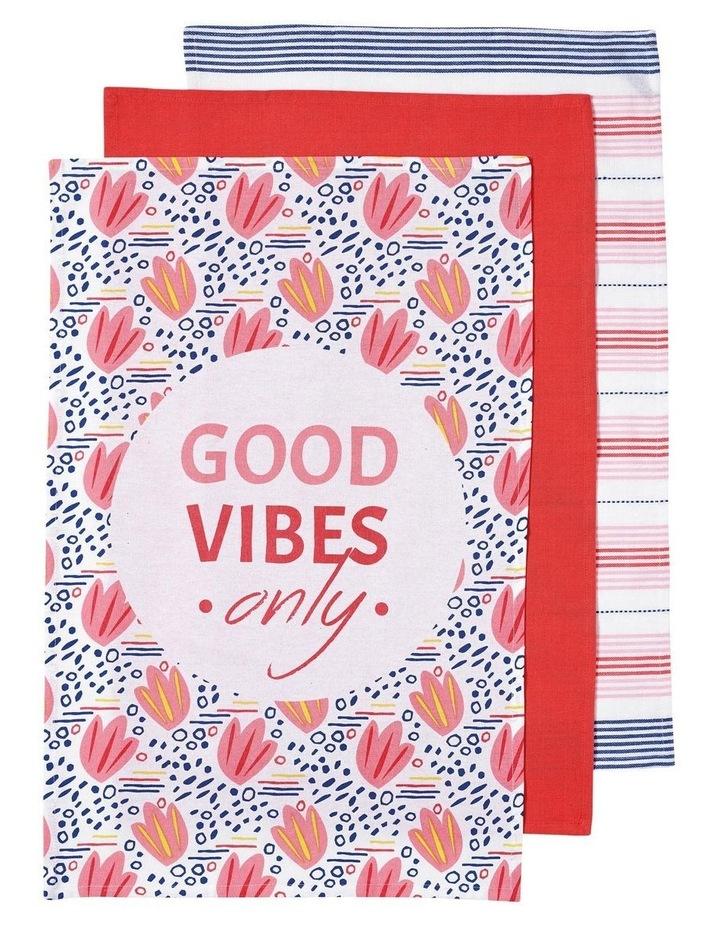 Arise Good Vibes Pink 3pk Kitchen Towel image 1
