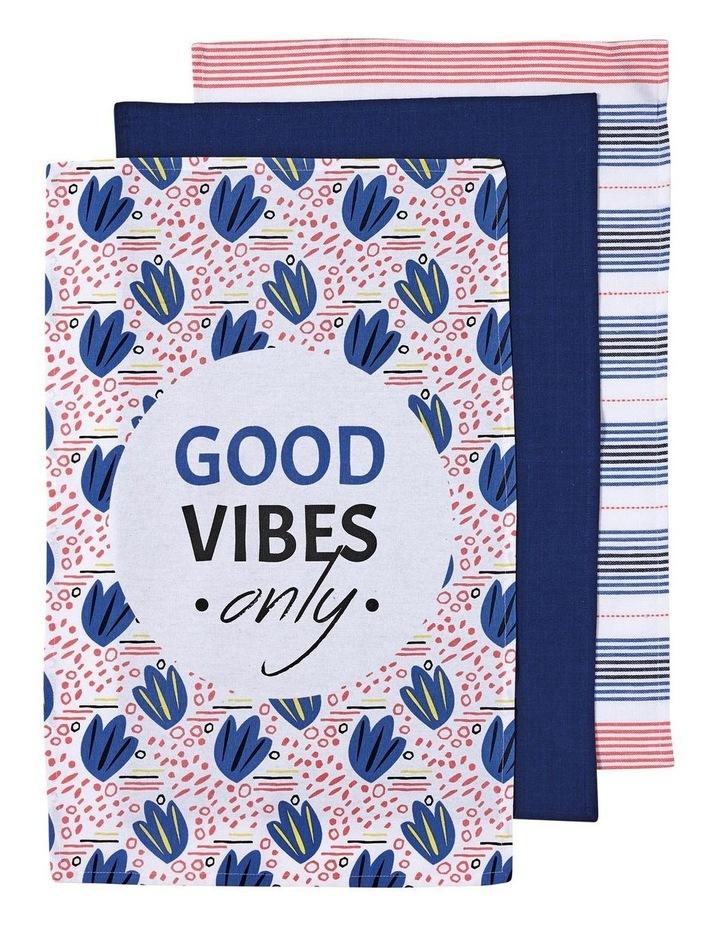 Arise Good Vibes Navy 3pk Kitchen Towel image 1