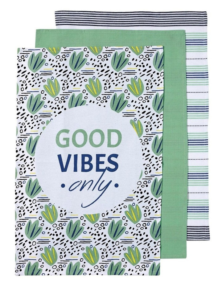 Arise Good Vibes Green 3pk Kitchen Towel image 1