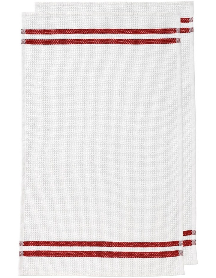 Recycled Terry 2pk Woven Kitchen Towel Red image 1