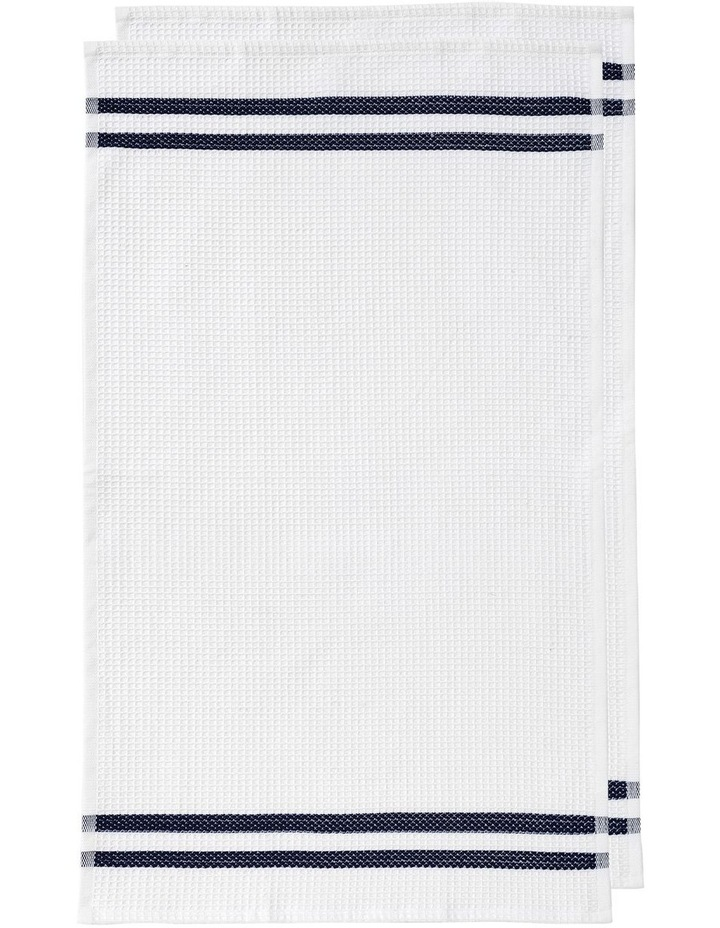 Recycled Terry 2pk Woven Kitchen Towel Navy image 1