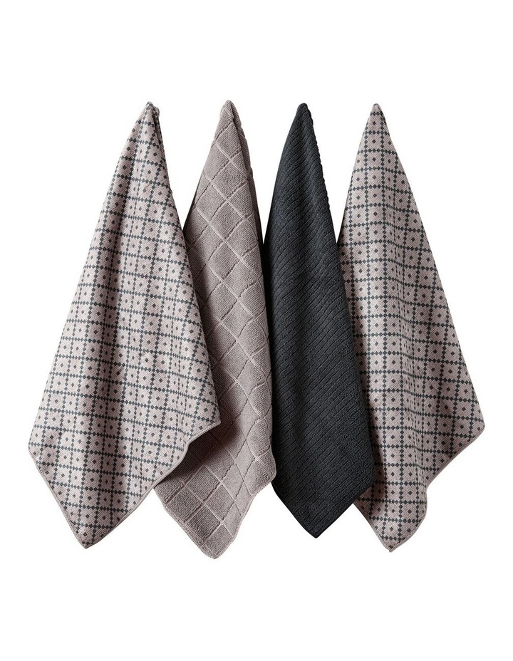 Carver Grey Microfibre 4pk Kitchen Towel image 1