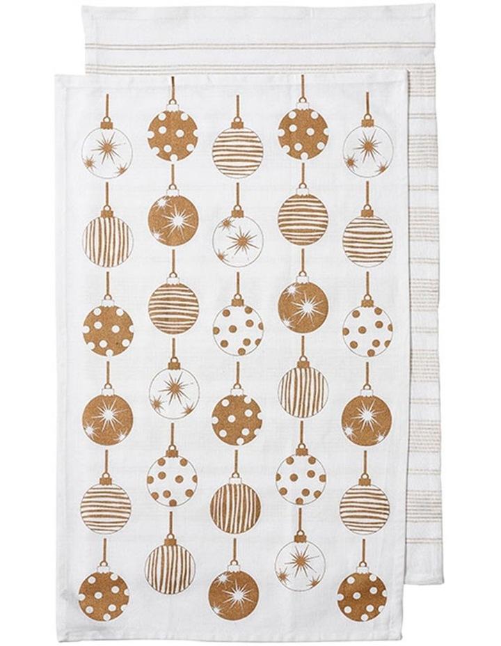 Sparkle Bauble Gold 2pk Kitchen Towel image 1