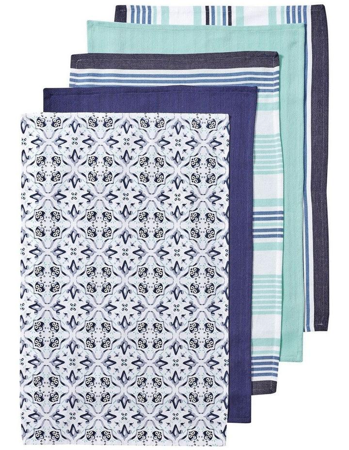 Tile Printed 5pk Tea Towel Blue image 1