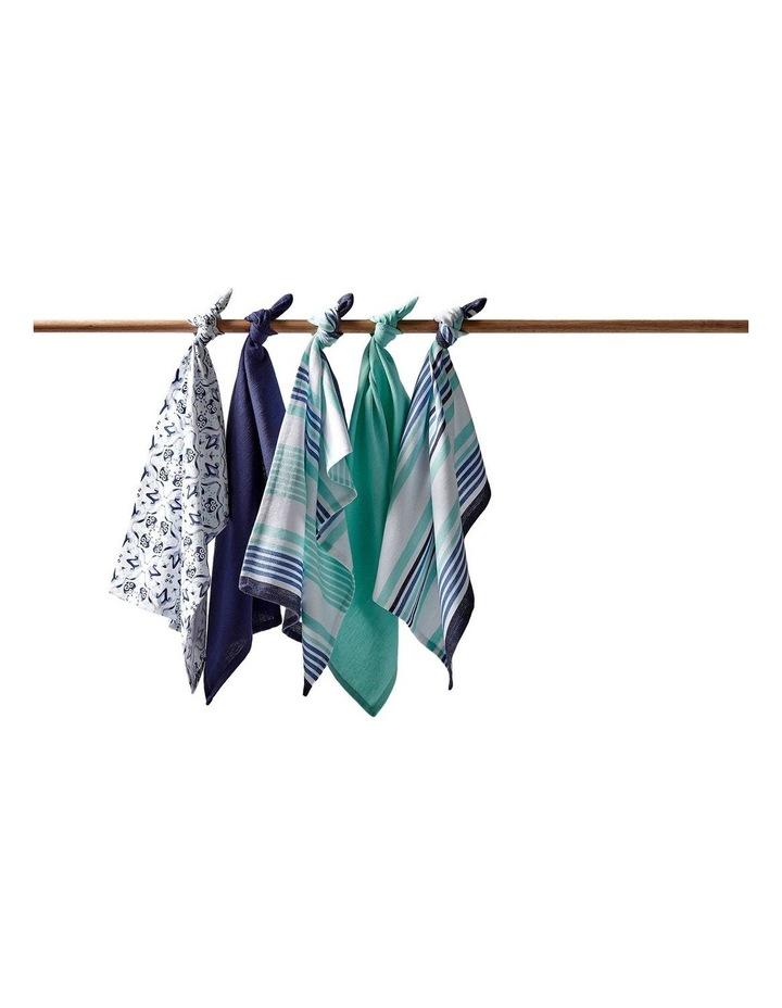 Tile Printed 5pk Tea Towel Blue image 2