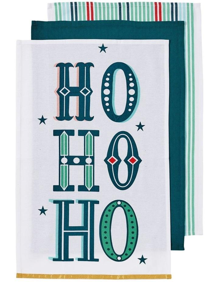 Joyful HoHoHo Green 3pk Kitchen Towel image 1