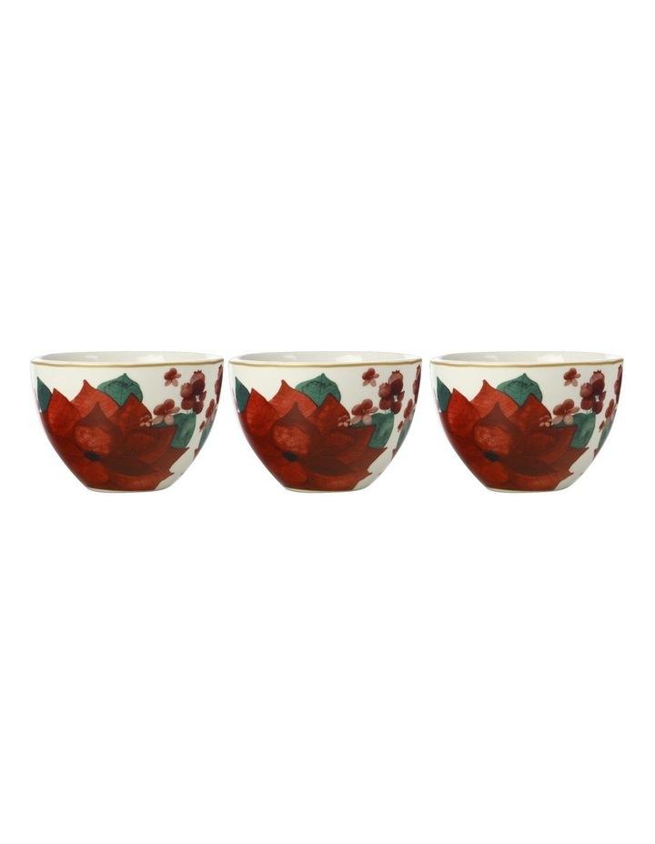 Poinsettia Bowl 10cm Set of 3 Gift Boxed image 1