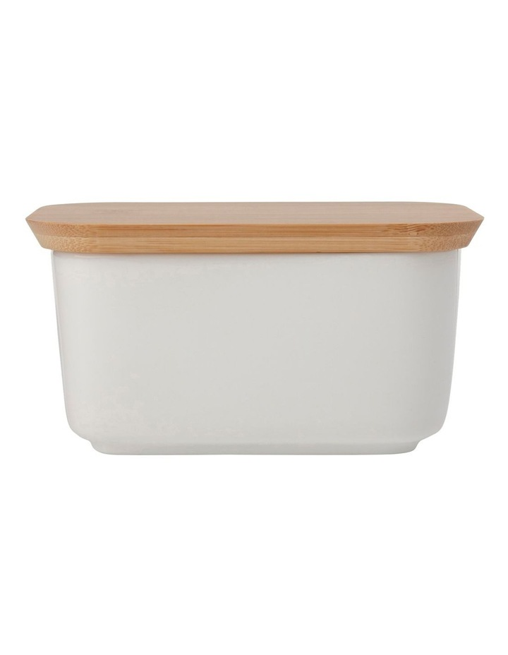 White Basics Butter Dish With Bamboo Lid image 1