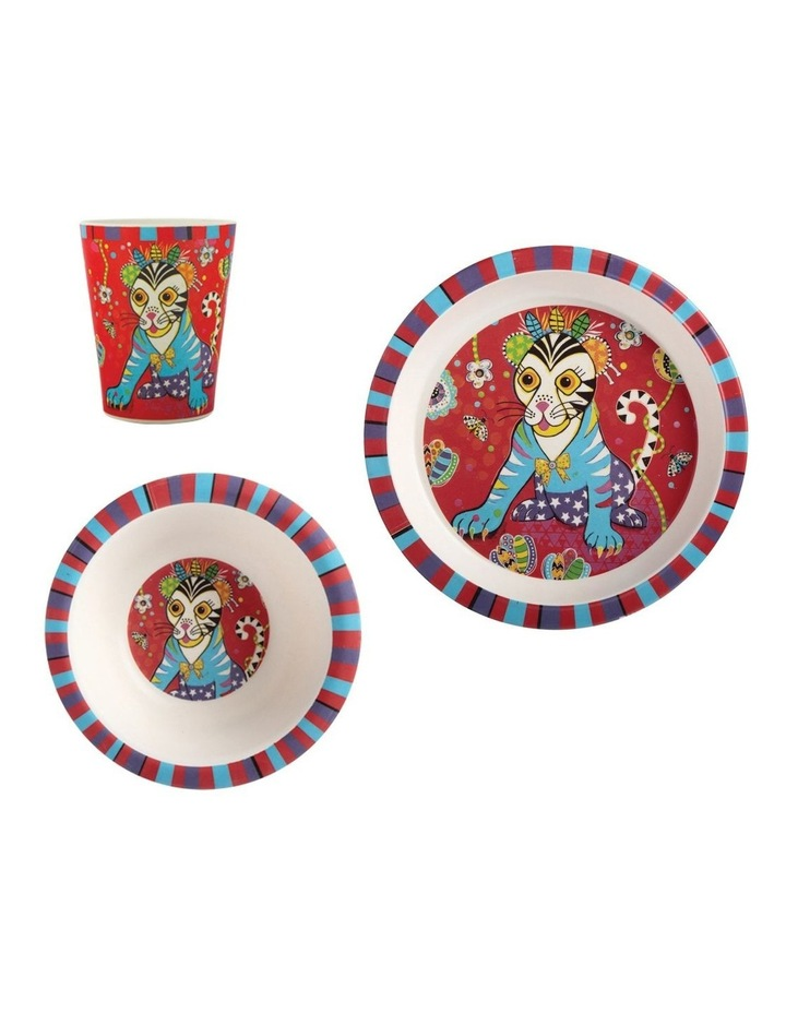 Donna Sharam Rainbow Jungle Children's Bamboo Tiggy & Tiny 3pc Dinner Set Gift Boxed image 1
