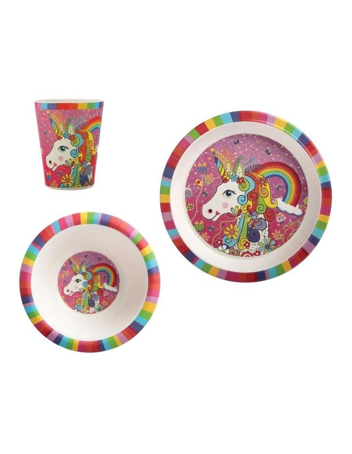 Donna Sharam Rainbow Jungle Children's Bamboo Rainbow Unicorn 3pc Dinner Set Gift Boxed image 1